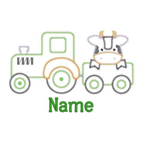 Tractor Cow Applique