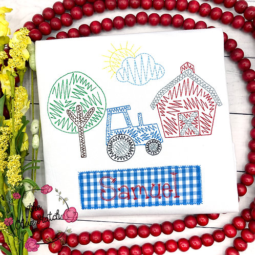Farm Sketch Embroidery Shirt