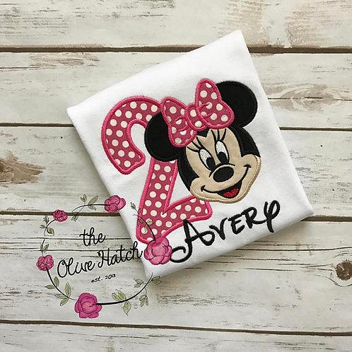 Girl Mouse Birthday Shirt -- Applique