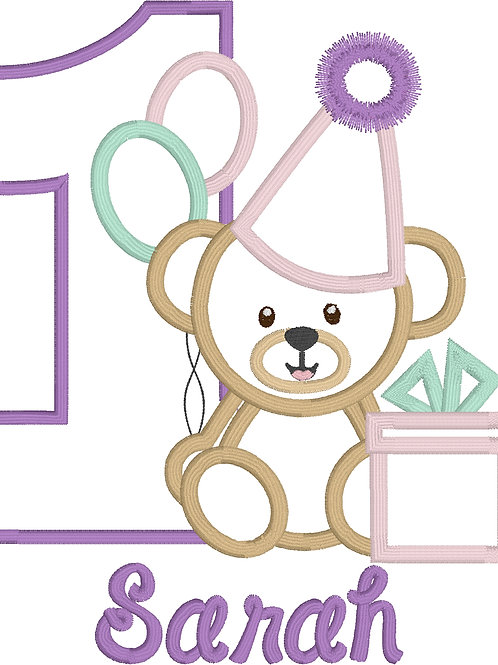 Bear Birthday Applique