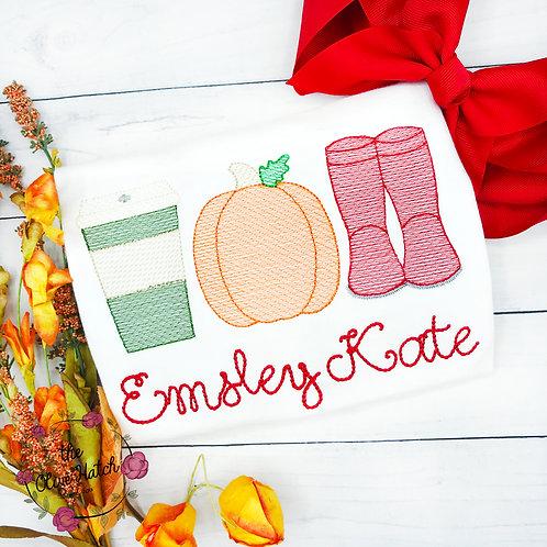 Fall Trio Sketch Design-- Embroidery