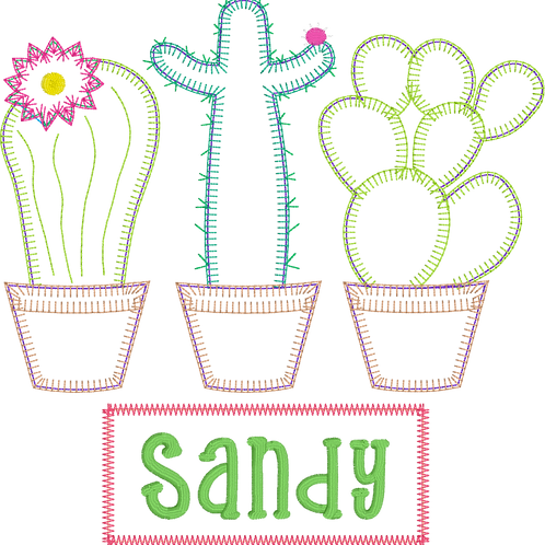 Cactus Blanket Stitch Design-- Applique