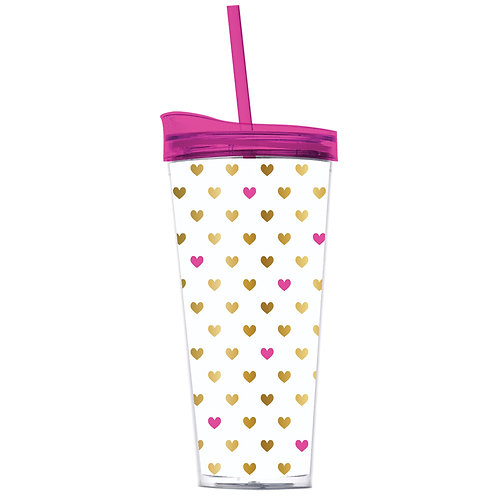 Gold and Pink Heart Tumbler