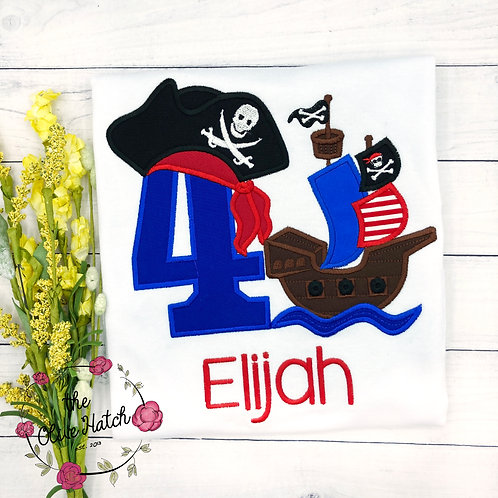 Pirate Ship Birthday Shirt -- Boat -- Applique