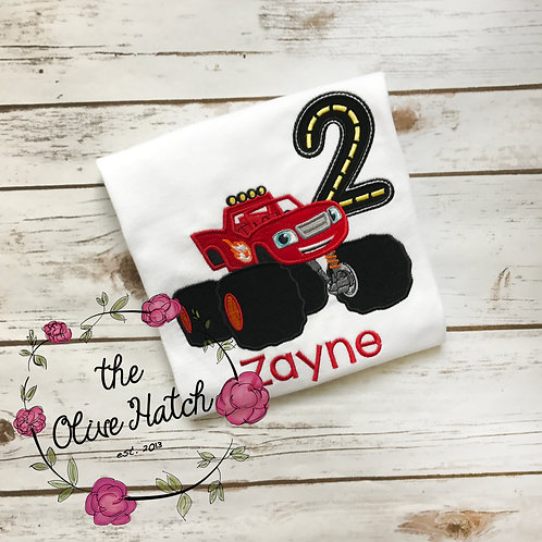 Monster Truck Birthday Shirt -- Applique