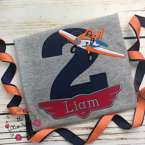 Air Plane Birthday Shirt -- Applique