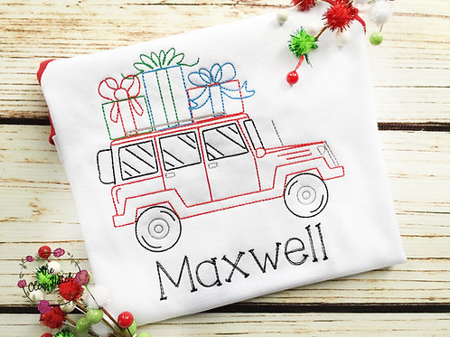 Christmas Shopping Jeep -- Embroidery