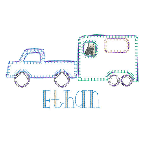 Truck and Horse Applique