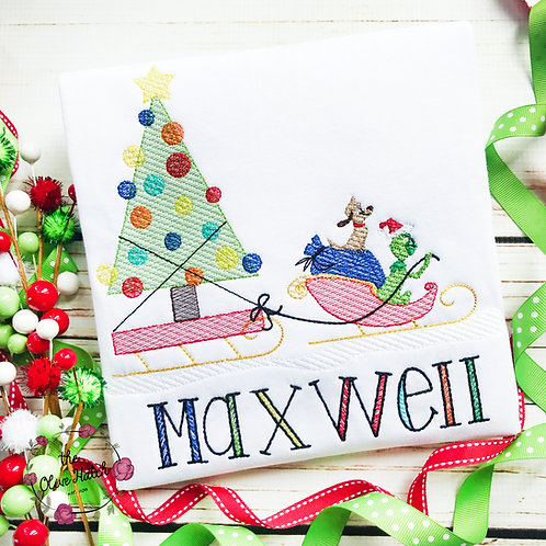 Green Monster Sleigh - Sketch Embroidery