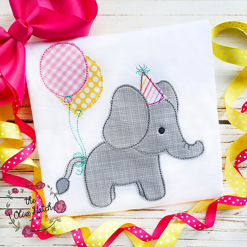 Elephant Birthday Applique