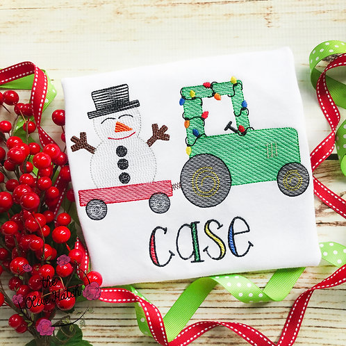 Christmas Tractor with Snowman Sketch