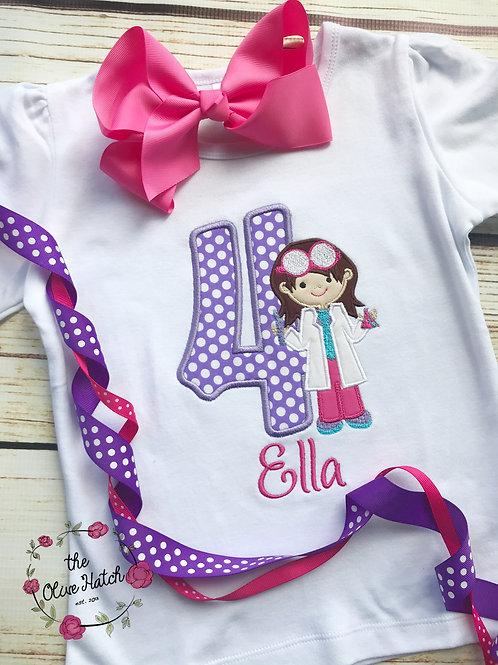 Scientist Girl Birthday Shirt -- Applique