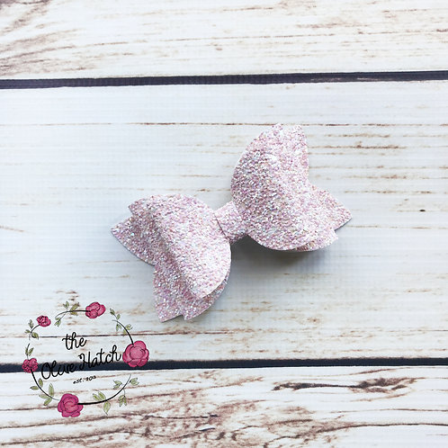Ballet Pink Glitter Bow Double Stack