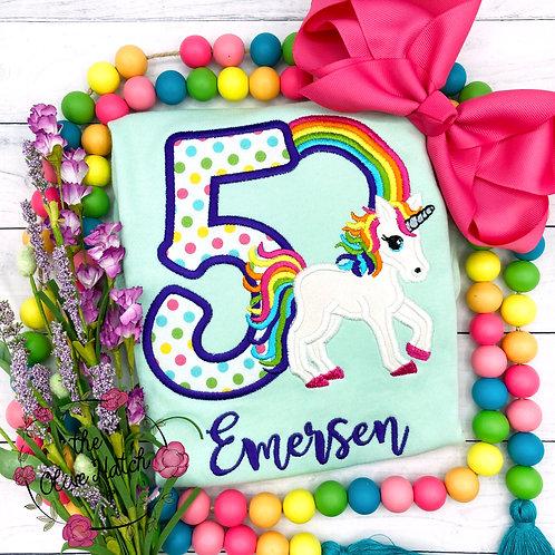 Unicorn Birthday -- Applique