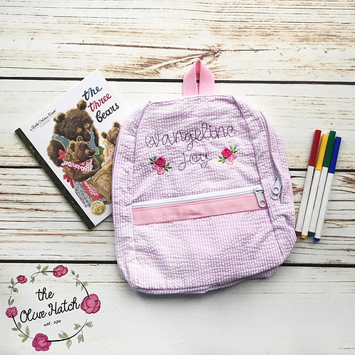 Floral Personalized Seersucker Backpack