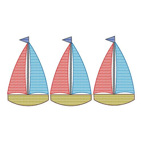 Boat Sketch Embroidery Trio