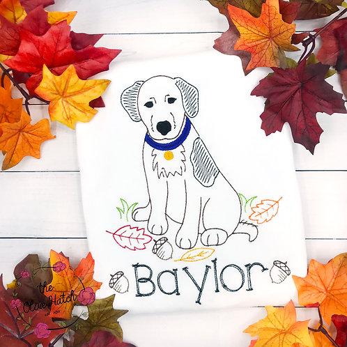 Fall Dog Embroidered Shirt