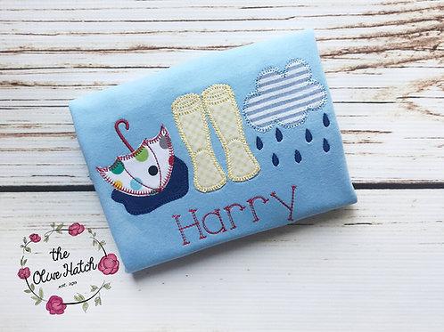 Rainboot  Blanket Stitch Design -- Applique