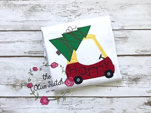 Christmas Coupe Blanket Stitch Shirt -- Applique