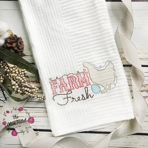 Farm Fresh Kitchen Towel Embroidered
