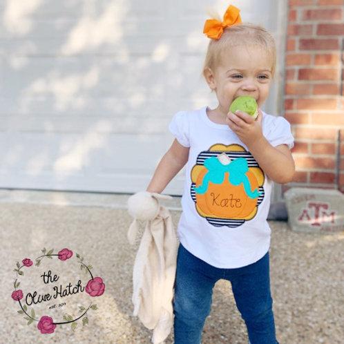 SouthernPumpkin with Bow -- Zig Zag Stitch Applique
