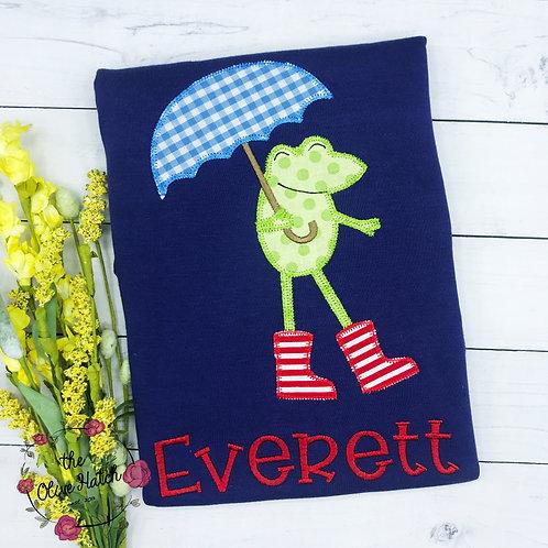 Frog with Rain Boots  Zigzag Stitch Design -- Applique