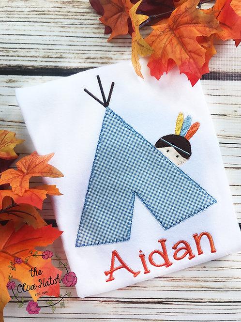 Teepee Boy Blanket StitchDesign-- Applique