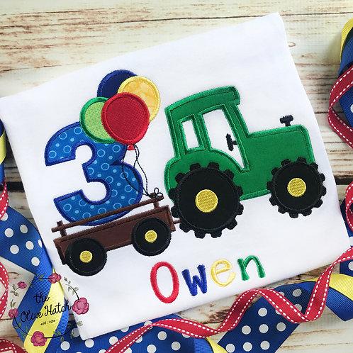 Tractor Birthday Applique