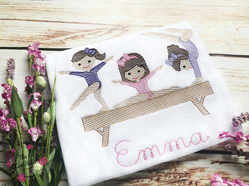 Gymnastics Sketch Embroidery Design