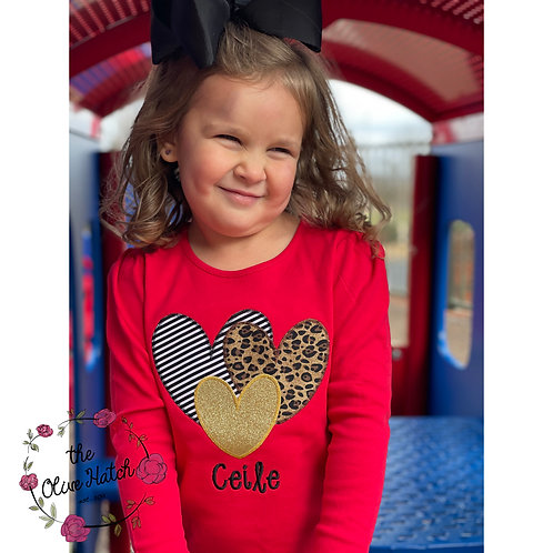 Valentine Hearts Applique Shirt