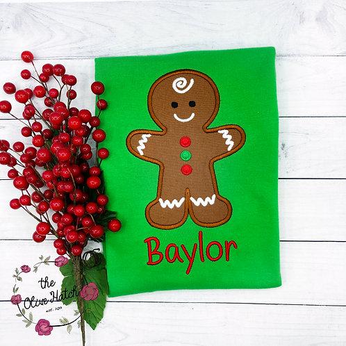Gingerbread Boy Applique Shirt
