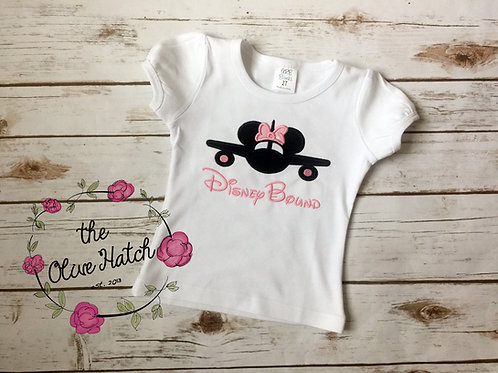 Miss Mouse Airplane Shirt -- Applique