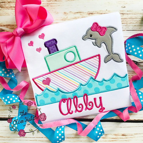 Dolphin and Boat Applique