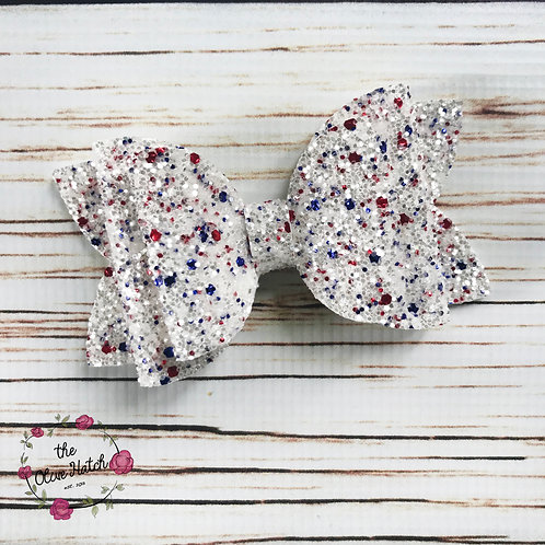 Red White and Blue Glitter Bow Double Stack