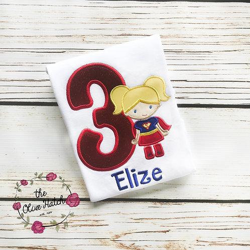 Super Girl Birthday Shirt -- Applique