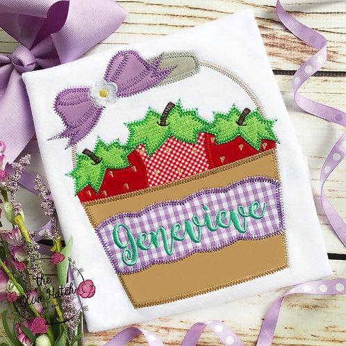 Strawberry Bucket Applique