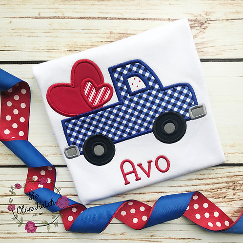 Truck with Hearts Applique