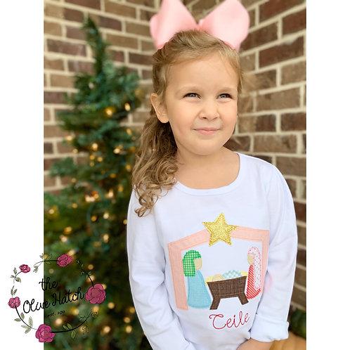 Nativity Christmas Blanket Stitch Applique Shirt