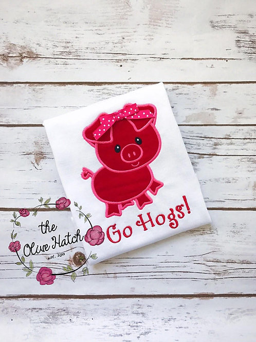 Go Hogs Shirt -- Applique