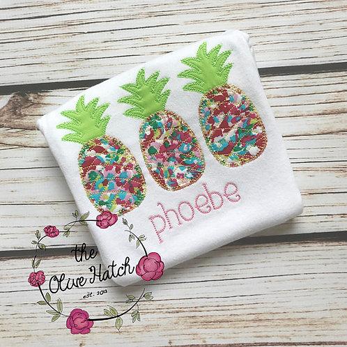 Pineapple Trio Blanket Stitch -- Applique