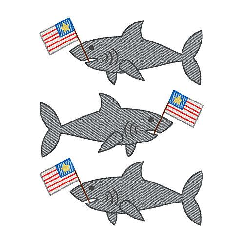 Shark Flag Sketch Design Shirt