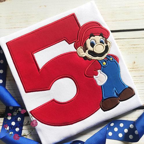 Mario Birthday Shirt -- Applique
