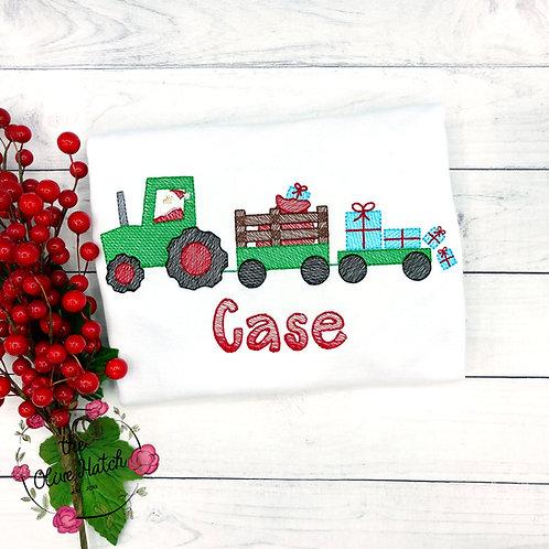 Christmas Tractor Sketch Shirt