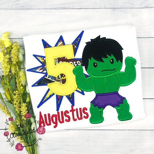 Green Boy Birthday Applique