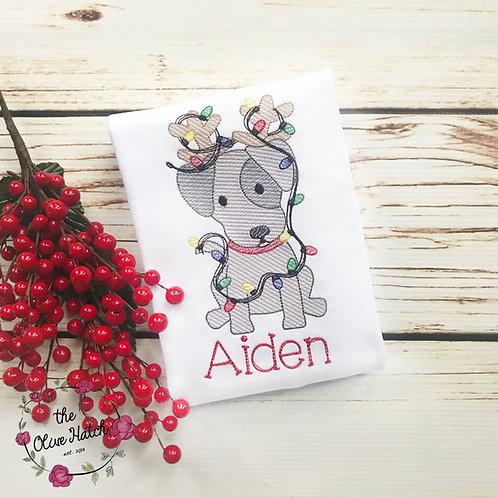 Christmas Puppy Reindeer Sketch Design