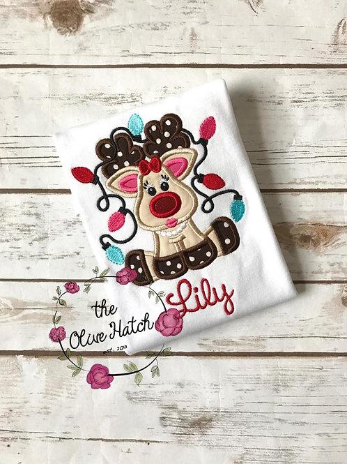 Girl Reindeer Shirt -- Applique