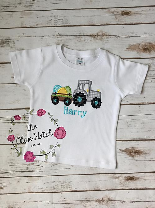 Tractor w/Eggs Shirt / OnePiece -- Applique