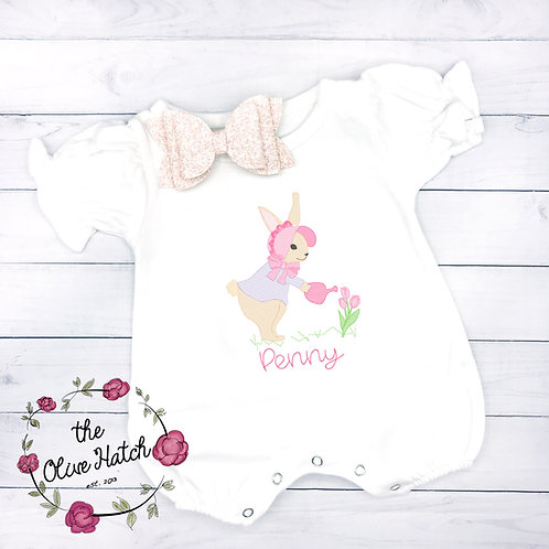 Bunny Romper-- Embroidery