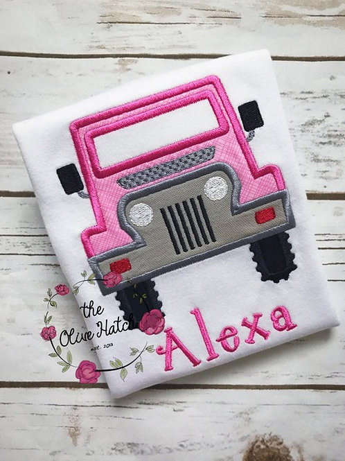 Pink Jeep Shirt -- Applique