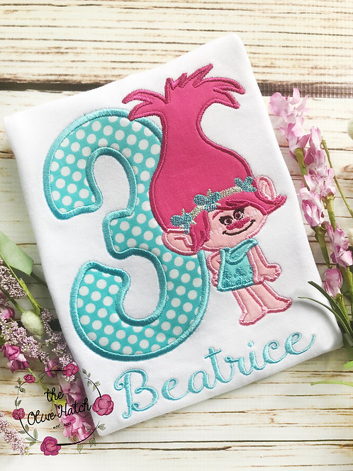 Troll Girl Birthday -- Applique